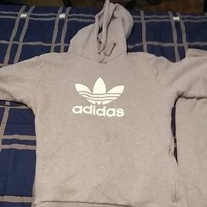 Adidas gray hoodie and sweatpants matching